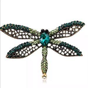 Vintage inspired green rhinestone dragonfly brooch